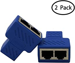 HUACAM RJ45 Splitter Adapter 1 to 2 Female Port CAT 7/ CAT 6/CAT 5 LAN Ethernet Socket Splitter Connector Adapter,Navy Blue-2 Packs