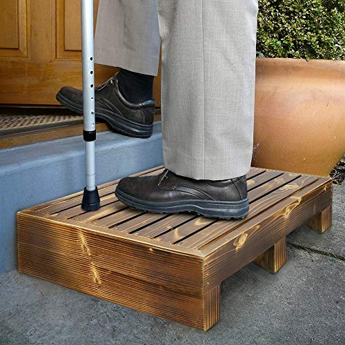 URFORESTIC 100% Solid Wood Indoor/Outdoor 3 1/2' High Riser Step - Non-Slip All Weather Top & Feet...