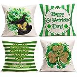 JOOCAR 4 fundas de almohada de lino y algodón, diseño de rayas y beso me soy irlandés de la suerte, para decoración del hogar, sofá, funda de cojín de 50,8 x 50,8 cm