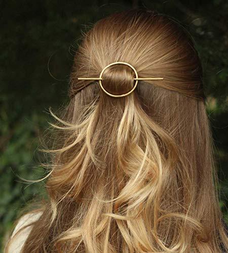 Catery Minimalist Gold Hair Accessories Round Barrette Star Moon Hair Pin Clips Fashion Geometric Hair Slide for Women(Circle)