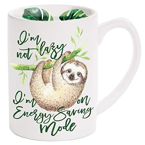 "X&O Paper Goods QMB5-21692 X&O Paper Goods Sloth""I'm Not Lazy, I'm On Energy Saving Mode"" Glazed Porcelain Coffee Mug, 16 oz, Multicolor"