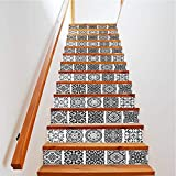YIZUNNU 13Pcs DIY Stair Stickers Step Riser Decals Peel and Stick Tile Backsplash Self Adhesive Contact Paper Tile Decals Staircase Mural Decals Home Decoration,39.3'x7'x13Pcs (Black and White Style)