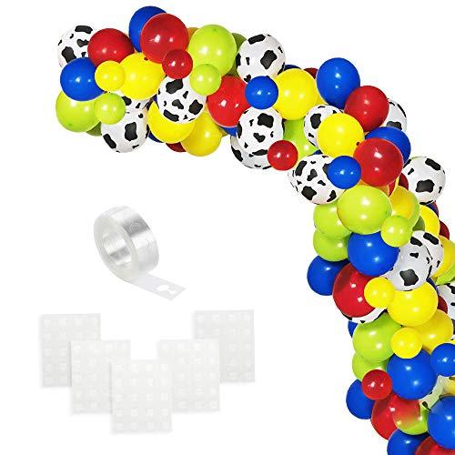 Globos Azules Verdes Rojos Amarillos, Arco de Globos Blancos Impresos con Patrón de Vaca con Tira de Globos para Decoraciones de Telón de Fondo para Fiestas de Cumpleaños para Niños (120 piezas)