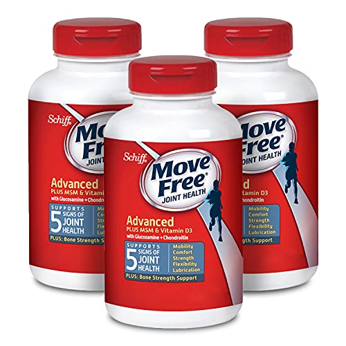 Move Free Vitamin D3, MSM, Glucosamine and Chondroitin - Advanced Tablets (120 count in a box)(Pack of 3), For Joint and Bone Health, Supports Mobility Flexibility Strength Lubrication and Comfort