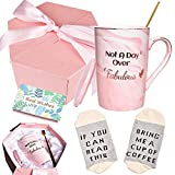 Birthday Gifts Coffee Mug Set for Women, Not A Day Over Fabulous Marbling Cup for Girlfriend, Wife, Mom, Coworkers, Daughter, Sister, Aunt, 13 oz, Pink(1 Pack)