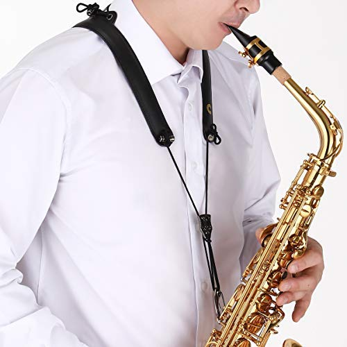 CIELmusic SMART ORIGINAL Saxophone Adjustable Neck Strap, Highly Reduces Neck Pain, Aluminum Dual Frame, Soft Synthetic Leather, Adjustable to All Sizes