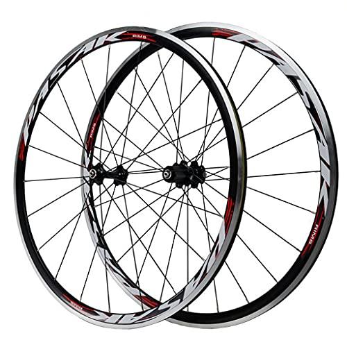 LICHUXIN 700C 30MM Llanta Aleación Aluminio Doble Pared Rueda Freno V/C rápido Liberar Ruedas de Bicicleta de Carretera para 7 8 9 10 11 Velocidades (Color : Red, Size : 700C)