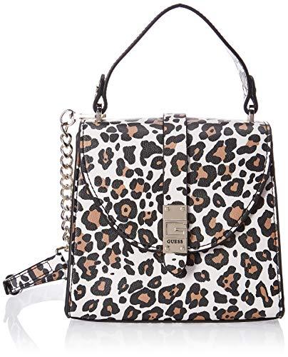 Guess NEREA Top Handle Flap, bolsos para Mujer, Leopardo, Talla única