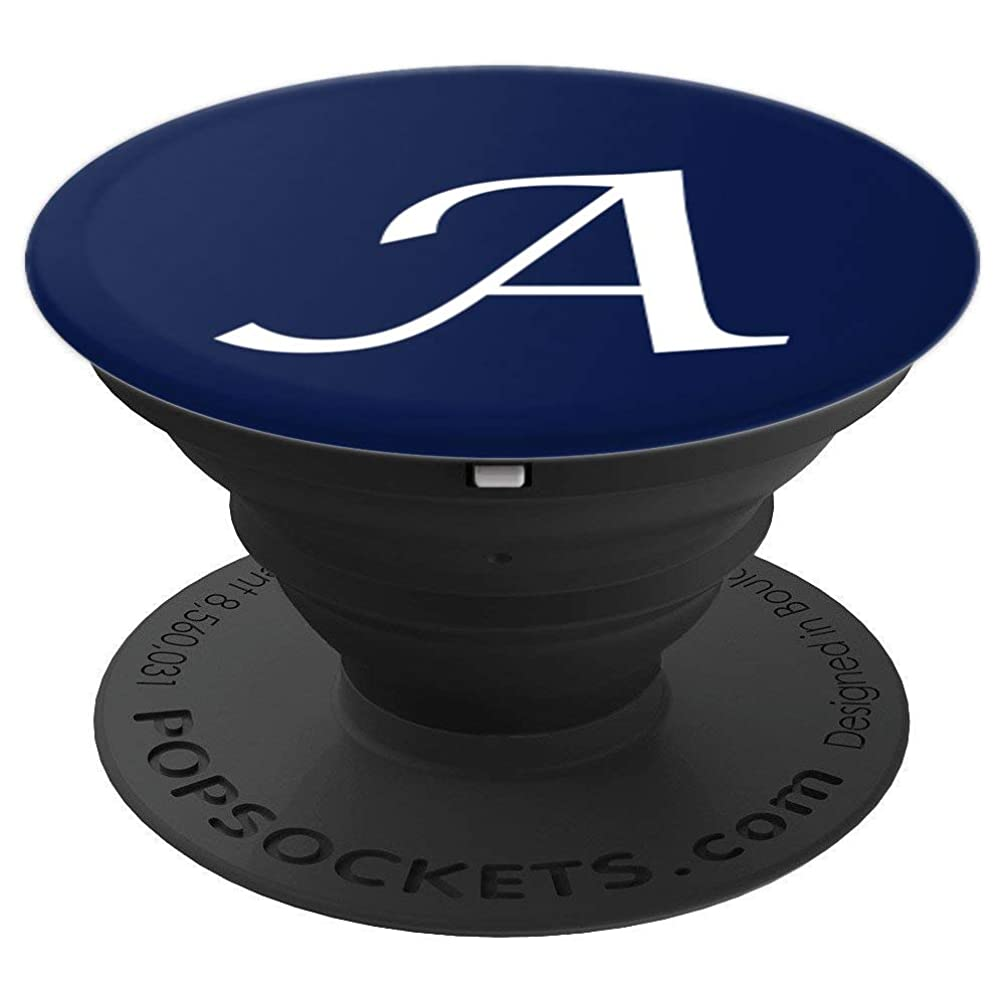 Phone Grip White Letter A. Initial A White On Navy Blue - PopSockets Grip and Stand for Phones and Tablets
