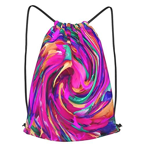 ZHIMI Mochila Con Cordones Unisex,La ilustración en el esquema de color de las plumas,Bolso con Cordón Impermeable para Nadar/Surfear/Viajar/Hacer Senderismo/Yoga/Deportes