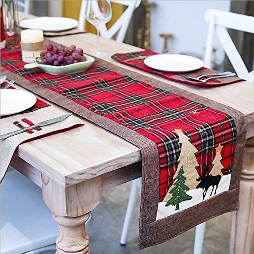 WREWING Tischtuch für Weihnachten, Weihnachtsbaum-Tischläufer und Hirschtisch-Läufer für Familienweihnachten Weihnachtstischdekoration Weihnachtsdinner Party Dekor (Baum und Hirsch)