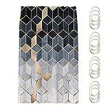 MOVKZACV Cortina de ducha geométrica de color degradado cubos, línea dorada, cortina de ducha, juegos de cortina de ducha, decoración de baño con 12 ganchos, impermeable, 180 x 180 cm