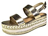 BAMBOO Women's Single Band Espadrilles Platform Sandal with Ankle Strap, Gold, 6.0 B (M) US