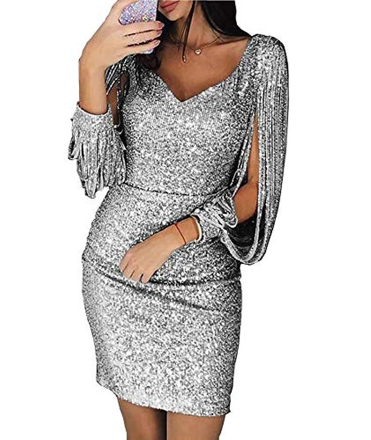 Women Sequins Tassel Long Sleeve V Neck Glitter Bodycon Club Party Mini Dress