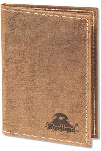 Woodland® Ausweis-/Kreditkartenetui für 6 Kreditkarten und 4 Ausweis-/KFZ-Scheine mit RFID/NFC Blocker aus naturbelassenem Büffelleder in Cognac/Vintage