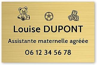 Personaliseerbaar bord voor kleuterschoolassistent, personaliseerbaar, 30 x 20 cm, goudkleurig, zwarte letters, 3M-plakband