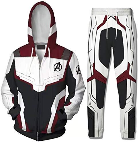 HUASON Uomo Felpe con Cappuccio Avengers Endgame Superhero Quantum Realm Battle Pantaloni Set(S)