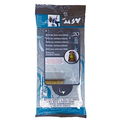 MSV 100256 Lot de 20 lingettes Anti-bacteries, Tensio-Actifs Anioniques Conservateurs/Viscose/Polyester, Blanc, 2 cm