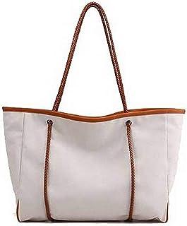 Shoulder Bag Women's Zippers Fashion Canvas Shoulder Bags Tote Bags Handbag Clutch (Color : Beige)
