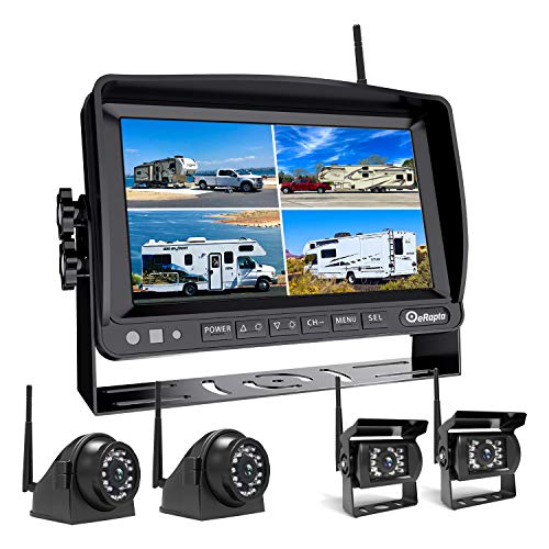 Wireless Backup Camera for RV Truck Trailer Pickup with Built-in DVR and Monitor Back up Camera Reverse Rear Side View Reversing 1080P Image Stable Signal 4 Split Screen Recording Function (Black)