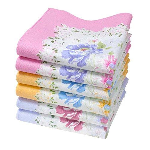 Merrysquare - Bedruckte Stofftaschentücher für Frauen - Größe 40cm x 40cm - 6 Stück - 100% Baumwolle (Annette)