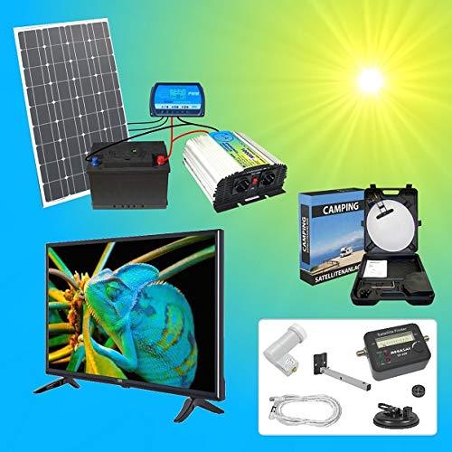 100W Solaranlage TV SAT Komplettpaket 220V TÜV Qualitäts 100Ah Akku wartungsfrei 2x 100W Hochleistungs Solarmodul 1000W Qualitäts Spannungswandler