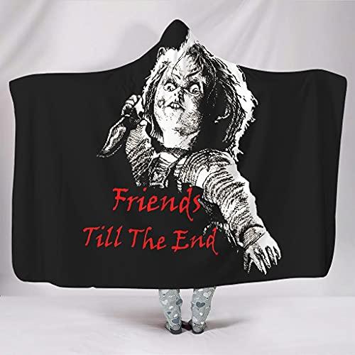Dessionop Forro, manta con capucha, para niños, chucky amigos, estampado, 150 x 200 cm, color blanco