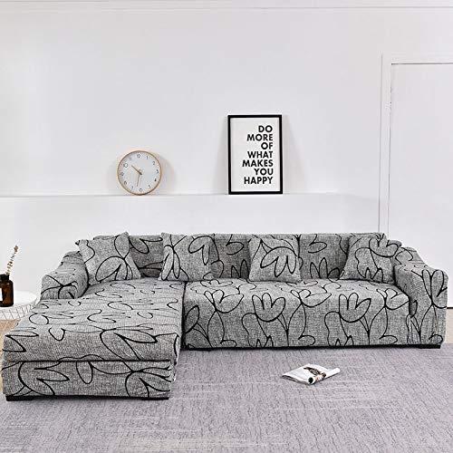 Fundas de sofá Chaise Longue para Sala de Estar, Funda elástica para sofá, Funda elástica en Forma de L, Funda para sofá de Esquina A14, 3 plazas