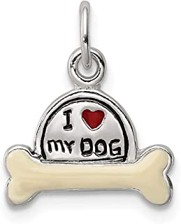 925 Sterling Silver Enameled I Love My Dog Pendant Charm Necklace Animal Fine Jewelry Gifts For Women For Her