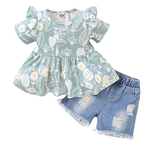 Toddler Baby Girl Denim Short Set Summer Ruffle Sleeve Tops Denim Pants Shredded Jeans Outfit (Green, 12-18 Months)
