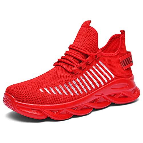 Shroizan Zapatillas deportivas para hombre, transpirables, ligeras, de malla, para correr, para el gimnasio y el trabajo, color Rojo, talla 40 2/3 EU