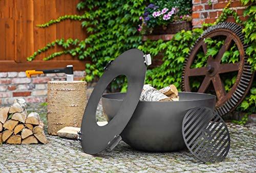BlackOrange Designer Feuerschale Moon Ø 85 cm mit Plancha - Feuerplatte aus Stahl Ø 82 cm und herausnehmbarem Grillrost Ø 40 cm, sowie 4 angeschweißte Sicherungsklappen/Haltegriffen