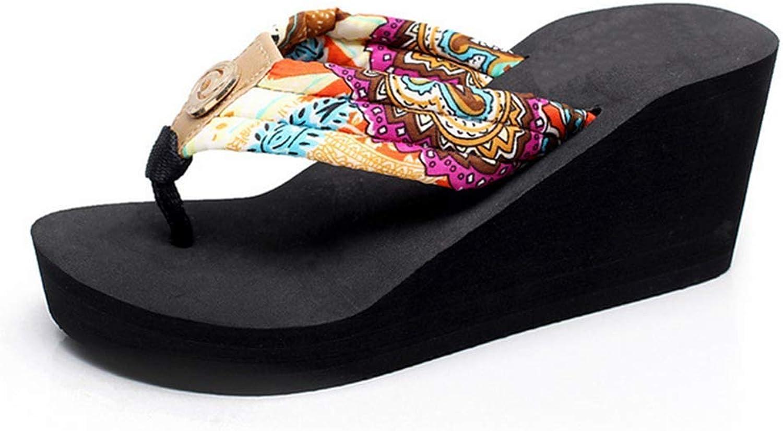 Flip Flops Wedge Platform Bohemia Comfort Sandals Beach Slippers for Women's