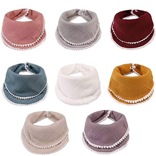 Baby Bandana Drool Bibs 8 Pack Baby Bibs for Boys Girls Adjustable Baby Bibs Set for Teething and Drooling, Organic Cotton Bibs, Soft Absorbent, Multi-Use Scarf Bibs