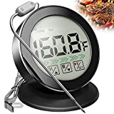 Digital Meat Thermometer for Grilling and Cooking - Large LCD Screen, Kitchen Timer, Alarm, Food Thermometer with Stainless Steel Probe for BBQ, Smoker, Oven