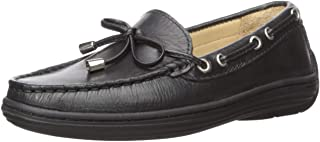Driver Club USA Kids' Leather Boys/Girls Casual Comfort Slip on Moccasin Tie-Bow Loafer Driving Style