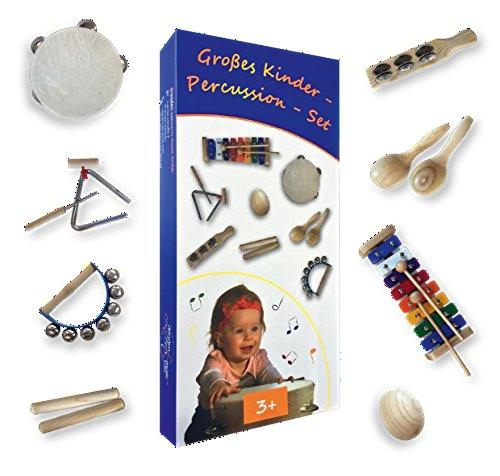 Großes Kinder-Percussion-Set,hochwertige Kinder Instrumente aus Holz, 10-teilg (FSC-zertifiziert) bestehend aus Glockenspiel, Maracas, Egg-Shaker u.a. für die musikalische Früherziehung / Orff-Instrumente