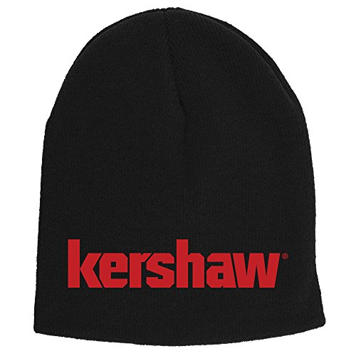 Kershaw Two-in-One Beanie (BEANIEKER18); Made of Comfortable 100% Knitted Acrylic Material; Reversible Black Exterior with Red Knit-in Logo and Solid Red Interior; One-Size-Fits-Most; Washable