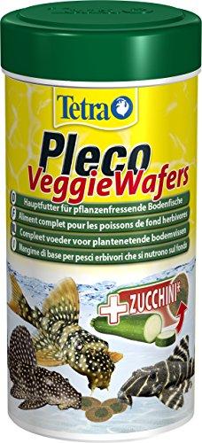 Tetra Pleco Veggie Wafers, Hauptfutter für pflanzenfressende Bodenfische, Alleinfutter mit mineralreicher Zucchini für verbesserte Vitalität, 250 ml Dose