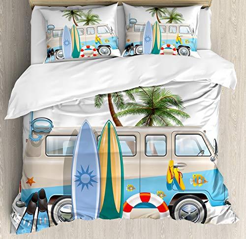 Juego de funda nórdica de surf, concepto de fin de semana de surf con aletas de elementos de buceo, esnórquel y viaje en furgoneta Relax Peace, juego de cama decorativo de 3 piezas con 2 fundas de alm