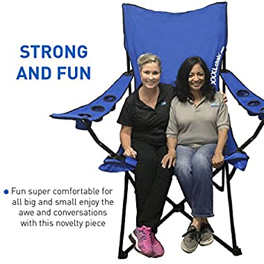 EasyGoProducts Giant Oversized Big Portable Folding Camping Beach Outdoor Chair with 6 Cup Holders! Fold Compact into Carry Bag ? Blue