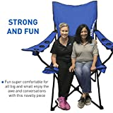 EasyGoProducts Giant Oversized Big Portable Folding Tailgating/Camping/Sports Outdoor Chair w/ 6 Cup Holders! Folds into Carry Bag (Blue)