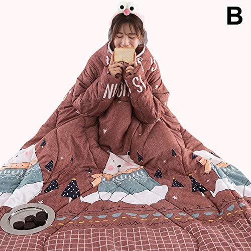 MAyouth Decke mit Ärmeln für Frauen und Männer, super weiche Bequeme tragbare werfen warme verdicken TV-Decke für Erwachsene (120 * 160) (B)