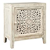 Signature Design by Ashley - Fossil Ridge Accent Cabinet - Boho Chic - Carved Floral Design - White