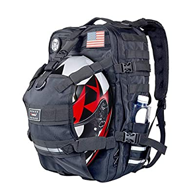 Goldfire 26L Weather Resistant Large Capacity Expandable Motorcycle Cycling Helmet Backpack With Military Molle Systerm (V1) from Goldfire MOTO