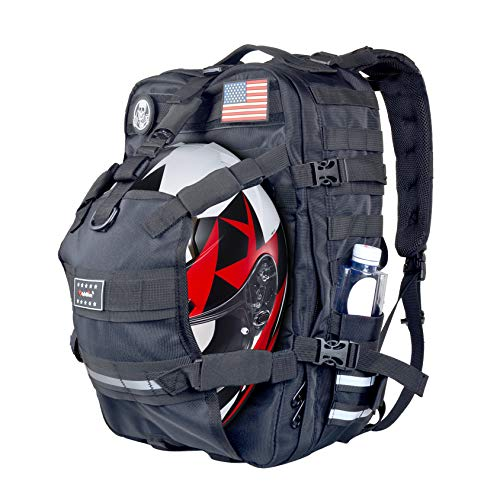 Goldfire 26L Weather Resistant Large Capacity Expandable Motorcycle Cycling Helmet Backpack With Military Molle Systerm (V1)