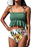 CUPSHE Women's High Waisted Bikini Swimsuit Floral Print Ruffle Two Piece Bathing Suit, L Jade