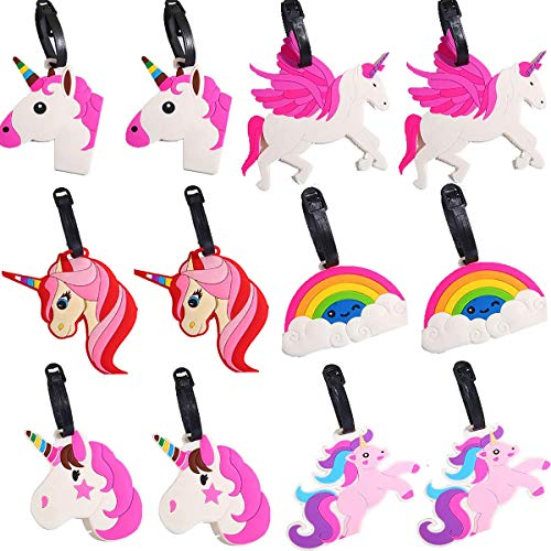 Unicorn Luggage Tag, Senteen 12 Pcs Cute Luggage Labels Cartoon Luggage Tag with Name Tag to Identify Luggage and Backpacks When Traveling