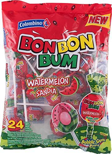 Chupetín Bon Bon Bum con goma de mascar en el interior (Sandia) Colombina / Colombia 24 chupetines