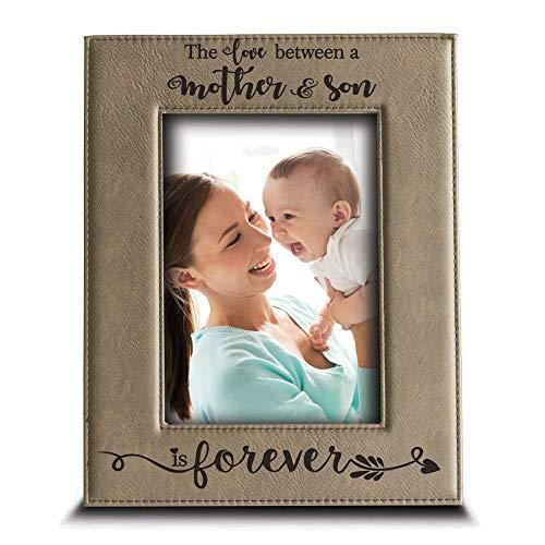 """BELLA BUSTA- O amor entre uma mãe e filho é eterno para o filho - Presentes para a mãe gravado moldura de imagem de couro (5"""" x 7"""" vertical (mãe e filho))"""